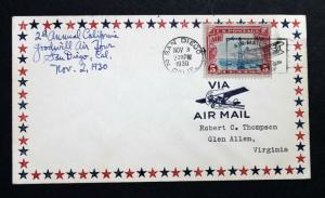US BOB ERROR EFO Air Mail Cover Sc# C11 RARE 2-Way Vingette Shift  Down Right