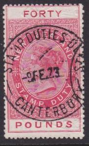 NEW ZEALAND 1880 LONG TYPE STAMP DUTY £40 used..............................7841