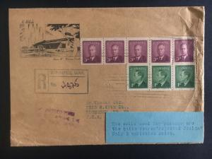 1950 Winnipeg Canada Registered Cover to Richmond USA Rare Coil stamps