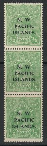 NW Pacific Islands, Sc 11 (SG 65), MLH strip of three - Ty. A, B, C (light bend)