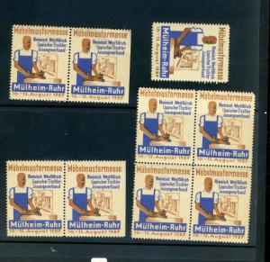 9 VINTAGE 1929 MOBEL PATTERN FAIR EXPO POSTER STAMPS (L790) GERMANY