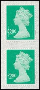GB Machin Definitive Spruce Green £2.80 M19L vert pair (2 stamps) MNH 2019
