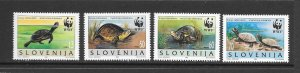 TURTLE - SLOVENIA #247a-d  WWF   MNH