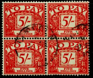SGD66, 5s scarlet/yellow, FINE USED, CDS. BLOCK OF 4. WMK MULT CROWN