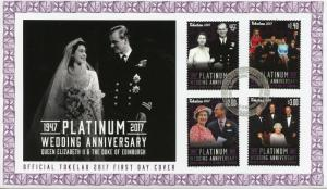 Tokelau 2017 FDC Queen Elizabeth II Platinum Wedding 4v Cover Royalty Stamps