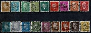 GERMANY 1928-32 PRES. EBERT & von HINDENBURG SET SG424-SG442 USED (VFU) XF/SUPER
