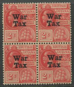 STAMP STATION PERTH British Guiana #MR1 - War Tax MNH Wmk 3 Block of 4 CV$8.00
