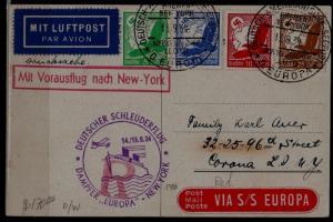 Germany Catapult card 14.9.34 Europa-NY