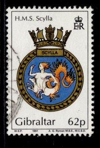 GIBRALTAR QEII SG654, 1991 62p, FINE USED.
