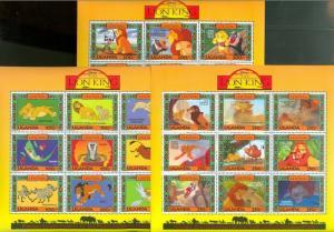 UGANDA DISNEY SCOTT#1266/68  LION KING  SET OF SHEETS  MINT NH