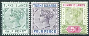TURKS & CAICOS ISLANDS-1893-95 Set of 3 Values Sg 70-72 MOUNTED MINT V31499
