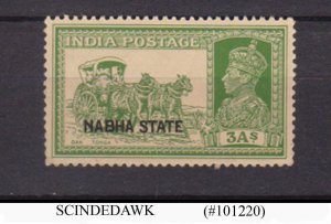 NABHA STATE - 1938 3a yellow-green SG#83 KGVI - OVPT - MINT NH