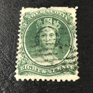 NOVA SCOTIA # 11a-USED-----GREEN---WHITE PAPER---1860-63(LOTB)