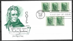 1963 Sc1225 Andrew Jackson Coil strips of 2 & 3 FDC