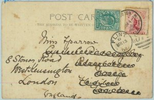 BK0361 - NEW ZEALAND - Postal History -  POSTCARD to ENGLAND, redirected! 1904