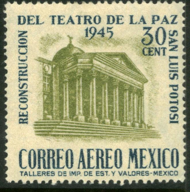 MEXICO C148 30¢ Reconstruction of La Paz Theater UNUSED, H. OG. F-VF.