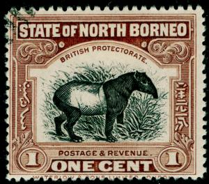 NORTH BORNEO SG158, 1c chocolate-brown, USED.