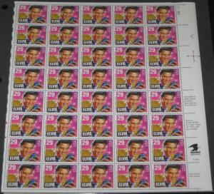 US #2721 29¢ Elvis Presley, Complete sheet of 40, og, NH, VF, Brookman $36.50