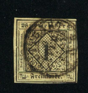 Wurttenberg #1   Used  1851-2  PD