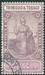 TRINIDAD & TOBAGO-1914 5/- Dull Purple & Mauve.  A fine used example Sg 155