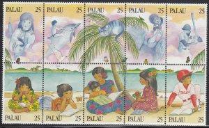 Palau 1989 MNH Sc 220 25c Literacy Block of 10