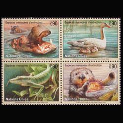 UN-GENEVA 2000 - Scott# 355a Endang.Species Set of 4 NH