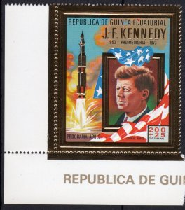 Equatorial Guinea 1973 Mi#306  SPACE APOLLO KENNEDY Gold (1) Perforated MNH