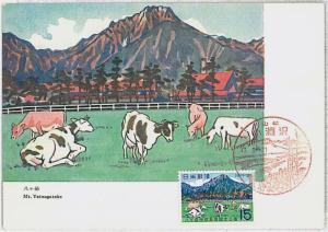 MAXIMUM CARD - POSTAL HISTORY - Japan: Cows, Farm Animals, Mountains