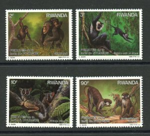 Rwanda MNH 1306-9 Chimpanzees Red Tailed Monkey 1988