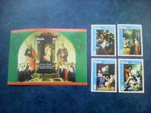 Nevis 2000 christmas art paintings  set+s/s  MNH