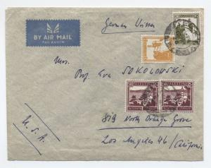 1940s Palestine airmail cover to USA 125 mils, 4 stamps  [y3020]