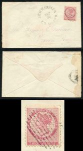 PRINCE EDWARD Is SG12c 1862 2d rose perf 11.5-12 DIE II on Cover SUPERB and RARE