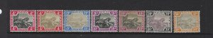 MALAYA SCOTT #28(2)- 30C- 31C (2)- 32- 33B 1904-10 TIGERS WMK 3 -MINT  HINGED