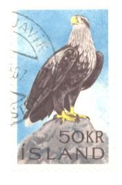 Iceland Sc 378 1966 50 Kr Sea Eagle Stamp Used