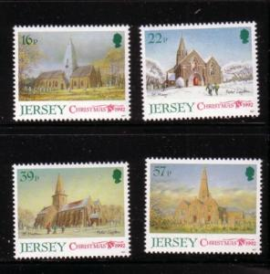 Jersey Sc 610-13 1992 Christmas Churches stamps NH