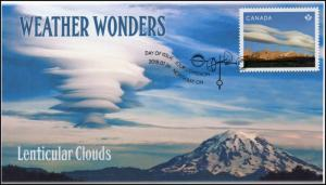 CA18-038, 2018, Weather Wonders, Pictorial, FDC, Lenticular Clouds
