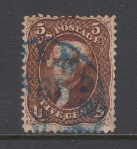 US Sc 75 used 1862 5c red brown Jefferson, blue CDS cancel sound & well centered