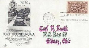 1071 3c FORT TICONDEROGA - To Carl Rueth - hand lettered by T. Stone
