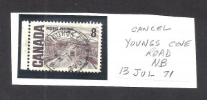 CANADA SON TOWN CANCEL YOUNGS COVE ROAD NB SCOTT 461 VF USED (BS16062)