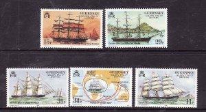 Guernsey-Sc#367-71-unused NH set-Sailing Ships-1988-