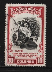 Costa Rica 1950 Air Mail / Ovpt ' 1950 Cartago Fair ' 10Col (1/14) USED