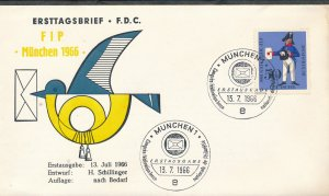 Germany 1966 Ersttagsbrief FIP Munchen 1966. Stamps FDC First Day Cover