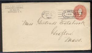 1900 2¢ envelope with BUFFALO PAN-AM EXPO cancel, VF