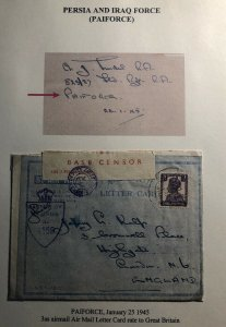 1945 Paiforce Iraq Indian Base Censored Air Letter Cover To London England