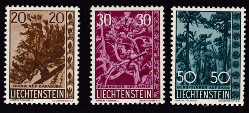 Liechtenstein 1960  Trees & Brush Type Complete (3) VF/NH