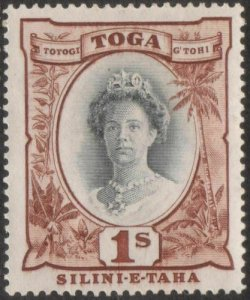Tonga 1942 SG80 1/- Queen Salote black and red-brown MLH