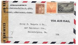 Cuba Censored Cover Havana to US 1944 WWII Censor Tape 30656