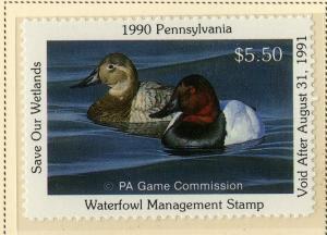US PA8 PENN  STATE DUCK STAMP 1990 MNH SCV $9.00 BIN $5.50