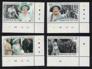Norfolk 'Queen Elizabeth the Queen Mother's Century' 4v Bottom Right Corners