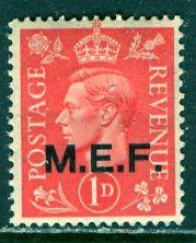 G. B. Middle East Forces 1943: Sc. # 10; **/MNH Single Stamp